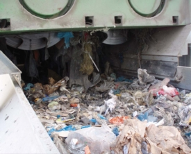 Shredder in waste processing plant