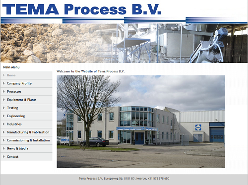 Screenshot from Tema Process' new website